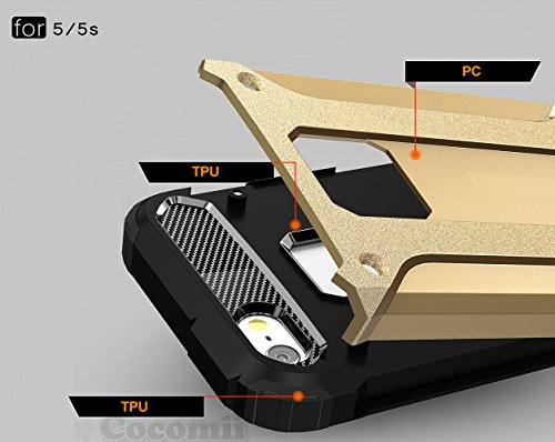 iPhone SE / 5S / 5C / 5 Coque, Cocomii Commando Armor NEW [Heavy Duty] Premium Tactical Grip Dustproof Shockproof Hard Bumper Shell [Military Defender] Full Body Dual Layer Rugged Cover Case Étui Hous Metal Slate