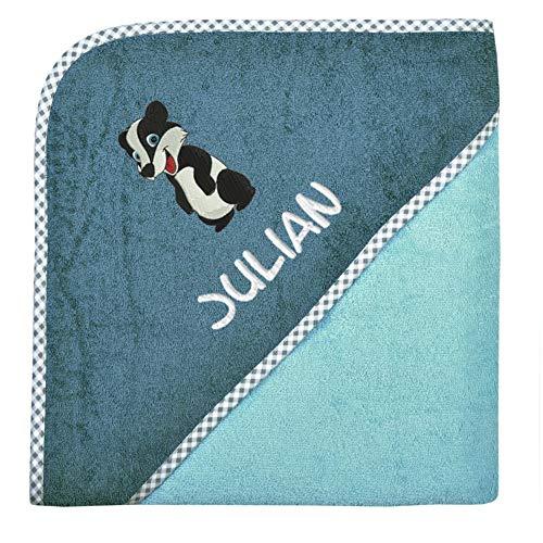 Wolimbo Kapuzenbadetuch mit Wunsch-Namen und Wunsch-Motiv - Format: 100x100cm - Farbe: kristallblau Rand kariert