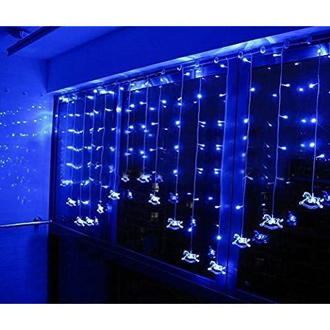 Minetom 104 LEDs Cortina Lámpara Caballo Ventana Decoración para Fiesta Navidad Dormitorio Cortina de Luz LED Interiores Exteriores