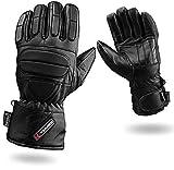 Voll Gepolstert Schutz Leder Motorrad Handschuhe Wasserdicht Thermo - L