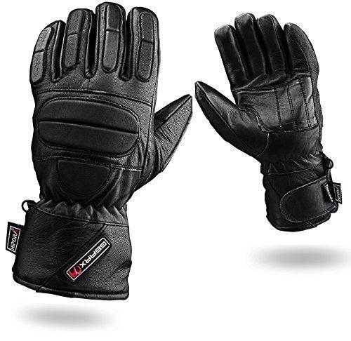 Voll Gepolstert Schutz Leder Motorradhandschuhe Wasserdicht Thermal, M -