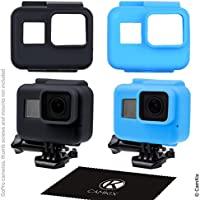 CamKix Fundas de silicona para el marco de su Compatible con GoPro Hero 5 Black - 2 Cubiertas protectoras - Negro / Azul - protección a su cámara GoPro Hero 5 dentro del marco