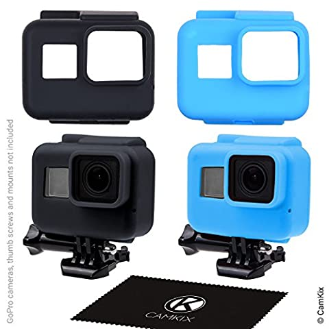 Silicone Sleeve Cases for The Frame of your Gopro Hero 5 Black - 2 Protective Covers - Black / Blue - Protection to Your GoPro Hero5 Camera inside The Frame - Against Dust, Scratches and Light