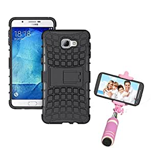 Aart Hard Dual Tough Military Grade Defender Series Bumper back case with Flip Kick Stand for Samsung A9 + Aux Wired Mini Pocket Selfie Stick by Aart store.