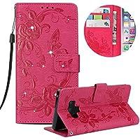Kristall Lederhülle für Galaxy Note 9,Gurt Glitzer Handyhülle für Galaxy Note 9,Moiky Stilvoll Jahrgang Heiß Rosa Schmetterling Blumen Gemalte Diamant Stoßdämpfende mit Stand Etui Schutzhülle