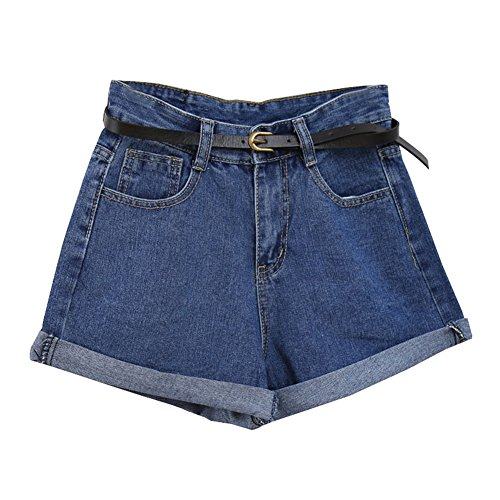 Guiran donna pantaloncini di jeans denim shorts vita alta pantaloni corti blu marino m