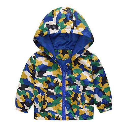 MRULIC Kinder Mädchen Jungen Floral Bedruckter Frühling mit Kapuze Licht Mantel Reißverschluss Jacke Tops Sonnenschutz Kleidung 1-6 Jahre(C-Gelb,120-130CM)