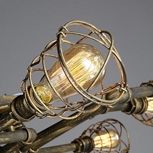 BAYCHEER Deckleuchte Industrielampe 6 Lampenfassung 65cm Retro Kupfer Semi Flush Deckenlampe Kronleuchte Pendellampe (8 Lampen) - 3