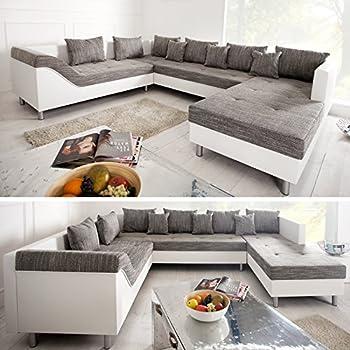 Wohnlandschaft geschwungen  Große XXL Wohnlandschaft SULTAN weiß grau charcoal Couch Recamiere ...
