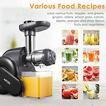 Juicer, Slow Masticating Juice Extractor With Reverse Function, Aicok Cold Press Juicer With Quiet Motor, Juice Jug & Brush For High Nutrient Juice, Bpa Free 4