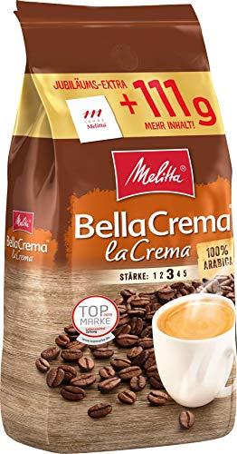Melitta Ganze Kaffeebohnen, 100% Arabica, vollmundig und ausgewogen, Stärke 3, BellaCrema Lacrema, 1111g