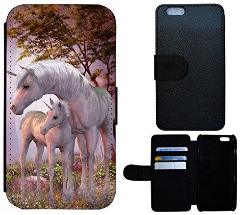Flip Cover Schutz Hülle Handy Tasche Etui Case für (Apple iPhone 5 / 5s, 1532 Katze Kätzchen Katzenbaby Weiß Schwarz) 1535 Einhorn Fantasy Pferd Fohlen