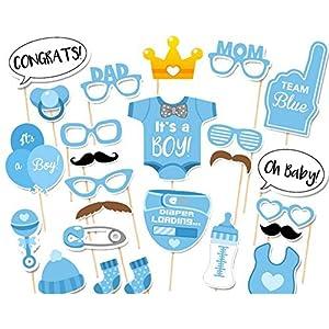 CHSYOO 25x It's A Boy blau Junge Foto Requisiten Photo Booth Props Photobooth Dekoration für Babyparty Baby Dusche Taufe Baby Geburtstag Babyshower Party