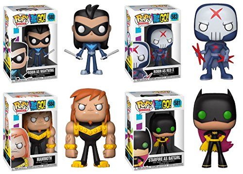 Funko POP Teen Titans Go Robin Ad Nightwing Starfire As Batgirl Robin As Red X Mammoth DC Vinyl Figure Set NEW