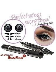 Eyeliner Stamp – WingLiner By Lovoir/Vogue Effects Black, Waterproof, Smudgeproof, Winged Long Lasting Liquid Eye Liner Pen, Vamp Style Wing, 2 Pens In A Pack (10mm Classic)