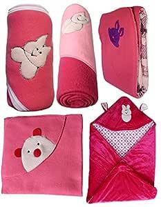 My Newborn Baby Fleece Blanket Gift Set, Hot Pink (Pack of 5)