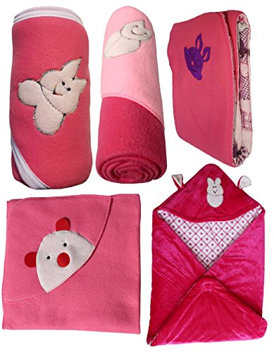 MY NEWBORN Baby Blanket | Baby Wrapper | Baby swaddle – Value Gift Pack Hamper – 5 pcs.