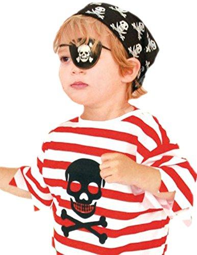 Faschingsfete Jungen Karnevalskomplettkostüm Pirat, 116, Rot-Schwarz-Weiß