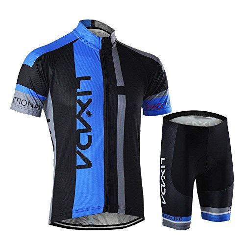 Lixada Homme Cuissard VTT + Maillot Velo à Manches Courtes Respirant Vêtements de Cyclisme (S,...
