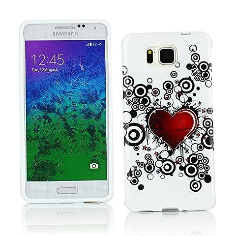 Kit Me Out FR Coque en Gel TPU pour Samsung Galaxy Alpha G850F - blanc / rouge / noir coeur style tatouage
