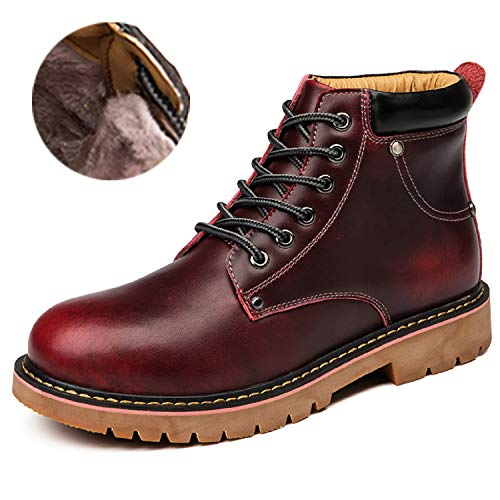 H-Mastery Botas Hombre Piel Casual Botines Cuero Invierno(Rojo,talla43)