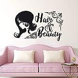 guijiumai Hair & Beauty Wandaufkleber Beauty Salon Fenster Wandtattoos Haare Shop Decor Beauty Lady Hair Cut Wandbild Barber Shop Decor Soft pink 56x92cm