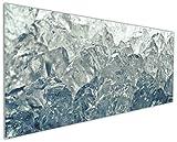 Wallario Küchenrückwand aus Glas, in Premium Qualität, Motiv: Leuchtendes EIS in blau-grau | Spritzschutz | abwischbar | pflegeleicht