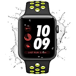 Apple Watch Straps 42mm, Desertwest Iwatch Straps 42mm, Soft Silicone Watch Bands For Apple Watch Series 3 Series 2 Series 1, Nike+, Sport, Edition(black&yellow)