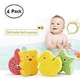Baby Badeschwamm Moonvvin 4 Stück Nette Dusche Schwämme Cartoon Baby Badeschwamm Wäscher für Kopf Gesicht Körper