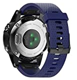 ANCOOL for Garmin Fenix 5S Band 20mm Width Easy Fit Soft Silicone Watch Band With Silver Color Metal Buckle for Fenix 5S (Dark blue)