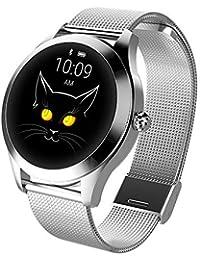 LayOPO KW10 Mädchen Mode Smartwatch IP68 Fitness Tracker Für Damen, Armbanduhr Aus Stahl/Ledergürtel, Multi-Sportmodus Für IOS/Android