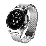 Womdee KW10 Reloj Inteligente para Mujer, Resistente al Agua, IP68, a la Moda, con frecuencia cardíaca, presión Arterial, Monitor de Actividad física, 0.22, Color Plata