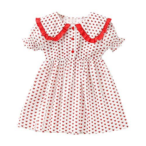 squarex  Mädchen Kurzarm Kleid Kleinkind Rüschen Rüschenrock Baby Herz Print Kleid Kinder Prinzessin Kleider Bequemes Kleid Freizeitrock -