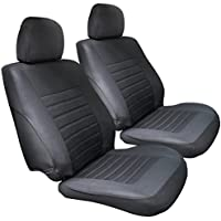 MATCC Car Front Seat Covers 2Pcs Waterproof Car Seat Cover Nonslip and Breathable Van Seat Covers Only Fit for Detachable Headrest, Black