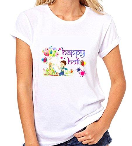 Crazy Sutra Premium Dry-FIT Polyester Unisex Half Sleeve Casual Printed Holi Special Tshirt |Funky Tshirts (T-HappyHoli-XIII_XL-Women)