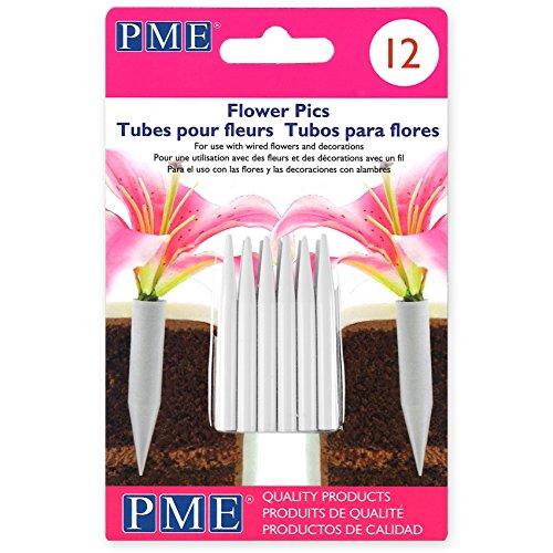 (Cake Company Kleine Blumenstiele, Kunststoff, Weiß 0.5 x 0.5 x 5 cm, 12-Einheiten)