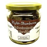 Xylit-Bonbons im Glas 'Schokolade-Vanille' ohne Zuckerzusatz, nur mit Xylit gesüßt, mit echter Bourbon-Vanille, 260 g