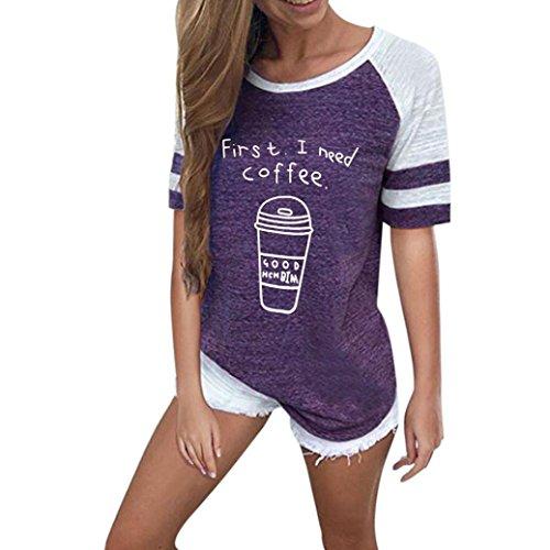 VEMOW Sommer Mode Frauen Damen Mädchen Casual Täglichen Sport O Hals Kurzarm Brief Gedruckt Bluse Tops Kleidung T-Shirt T-Shirts Pullover(Lila, EU-44/CN-XL) (Pullover Lila Rollkragen)