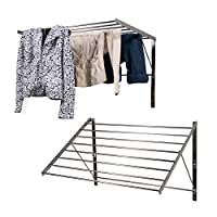 Set of 2 Clothes Drying Rack Stainless Steel Wall Mounted Folding Adjustable Collapsible , 6.5 Yards Drying Capacity