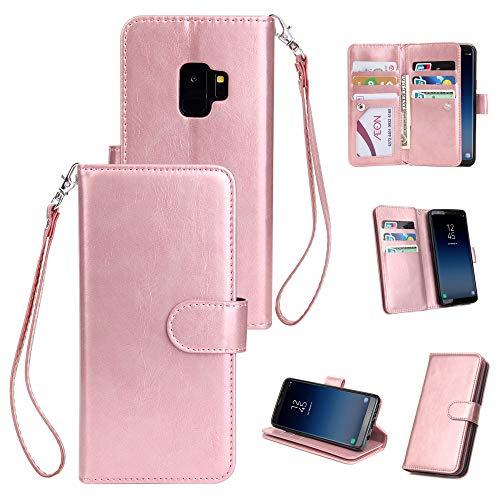 Yobby Groß Brieftasche Hülle [3 Layer] für Samsung Galaxy S9 Plus, Handyhülle Klassisch Flip Leder Tasche Abdeckung [9 Karte Schlüssel] mit Abnehmbar Handschlaufe und Stand-Roségold -