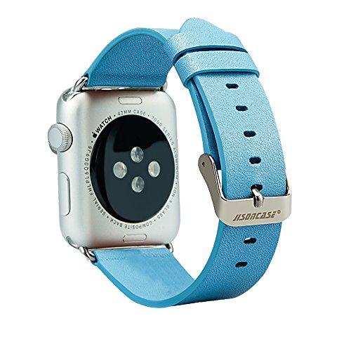 Watch Band, Jisoncase® Classic 42mm Cinturino in pelle vera con Free adattatori in acciaio inox fibbia chiusura in metallo compatibile con Apple iWatch per sport jogging