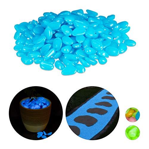 Relaxdays Fluoreszierende Steine, 200 Stück, nachtleuchtend, Deko Leuchtsteine für Garten, Gehweg, Aquarium, Vasen, blau