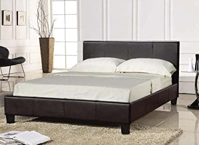 King Size BLACK Bed Frame 5FT Faux Leather - Prado by Comfy Living