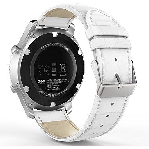 MoKo Gear S3 SmartWatch Correa, Prima de Cuero Genuino Patrón de Cocodrilo Band Reemplaza para Samsung Gear S3 Frontier / S3 Classic / Moto 360 2nd 46mm Smartwatch,