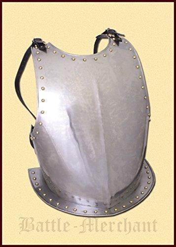 Mittelalterlicher Brustpanzer aus Stahl Brustharnisch Schaukampftauglich Ritterrüstung Plattenpanzer LARP Wikinger (Mittelalterliche Kostüm Rüstung)