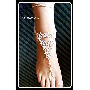 Tatting Barfuß Sandalen, Occhi, Fußschmuck, Fußkettchen, Frivolité, Baumwolle, weiß