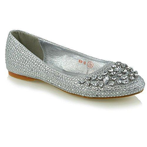 ESSEX GLAM Damen Braut Diamant Silber Glitzerstaub Ballerina Schuh EU 39