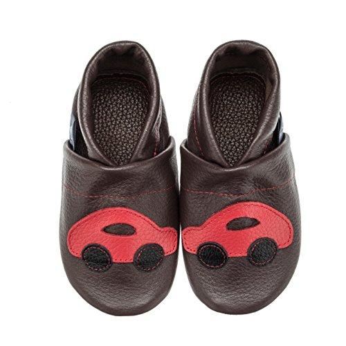 pantau.eu Leder Babyschuhe Lauflernschuhe Krabbelschuhe Lederpuschen mit Auto DUNKELBRAUN_ROT