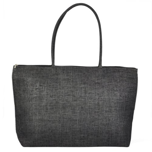 TOOGOO(R) Feminin Paille Tricot Plage Sac a Main d'Ete Shopping Voyage Zippe Sac - noir