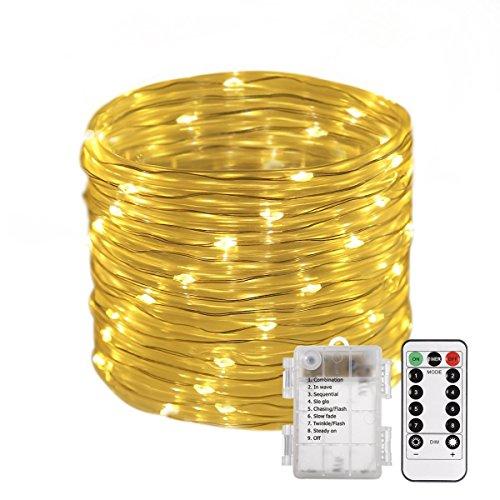 100L Lichterschlauch Micro Lichterkette mit 8 Modus Dimmbar Timer Fernbedienung Batteriebetrieben Deko für Außen Innen Warmweiß gresonic